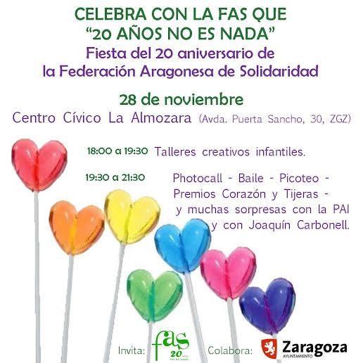 La Federación Aragonesa de Solidaridad celebra hoy sus 20 años