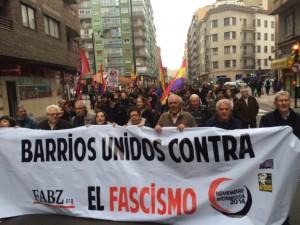 Cabecera de la manifestación antifascista de Zaragoza. Foto: @arainfonoticias