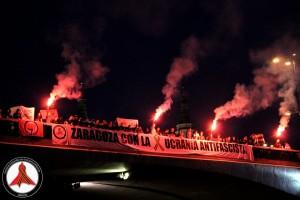 Acto en Zaragoza en apoyo a la Ucrania antifascista. Foto: Comité de Solidaridad con la Ucrania Antifascista de Zaragoza