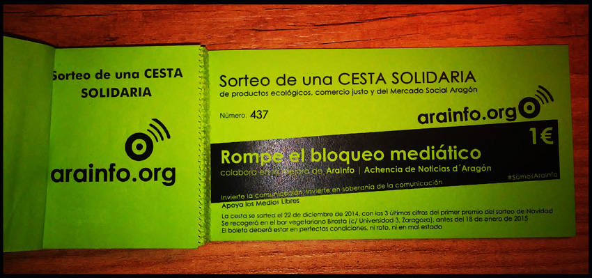 Número 437, boleto ganador de la cesta solidaria de AraInfo 2014