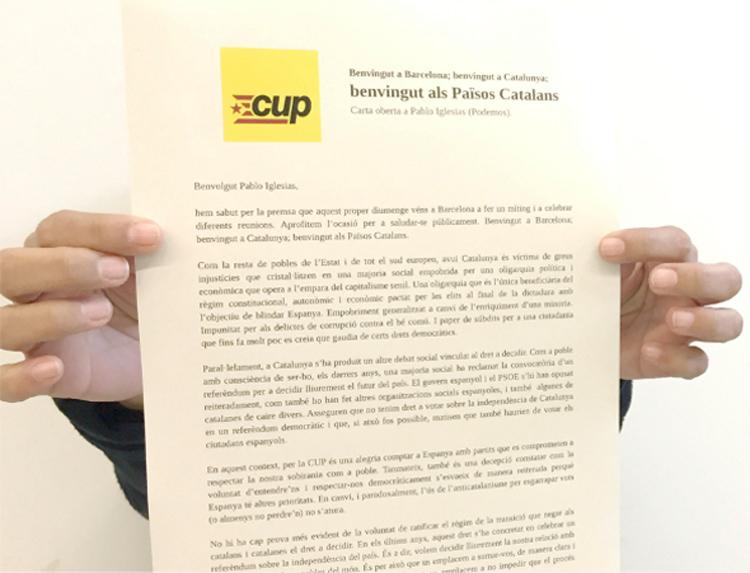 """La CUP pide en una carta abierta a Pablo Iglesias """"palabras claras y compromisos transparentes"""""""