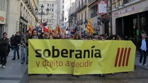 Manifestación soberanista 'En A Tuya Man', el sábado 20 de diciembre de 2014 en Zaragoza. Foto: Dalber [Galería AraInfo / Galería Diego Díaz]