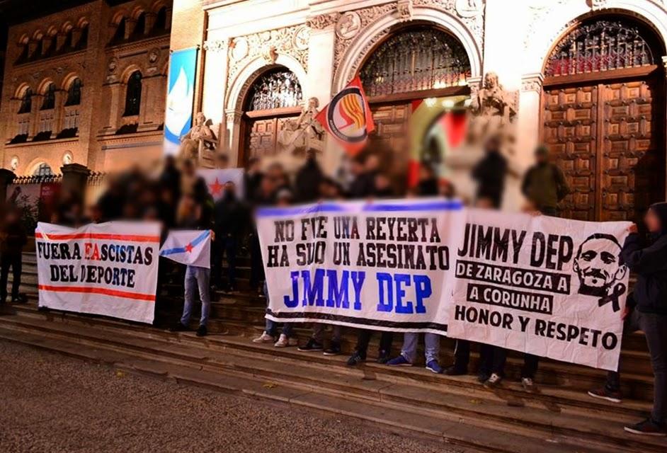 "Concentración en Zaragoza en recuerdo de ""Jimmy"", seguidor del Deportivo de A Corunha asesinado en Madrid"