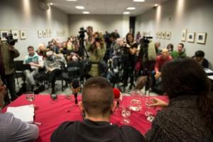 La rueda de prensa en el Ateneo de Madrid, esta mañana. Foto: Álvaro Minguito