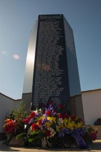 En el Memorial solo figuran hasta hora los nombres de las personas asesinadas por el fascismo en la ciudad de Calatayud. Foto: Arico