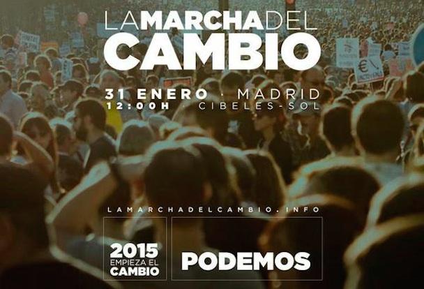 """Podemos moviliza a sus miembros y simpatizantes en la """"Marcha del Cambio"""" en Madrid"""