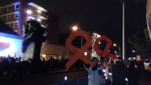Protestas en el exterior del hotel donde se celebraron los Goya. Foto: @cgtrtve