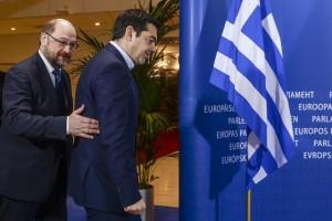 El primer ministro griego Alexis Tsipras y el presidente del Parlamento Europeo Martin Schulz el 4 de febrero.