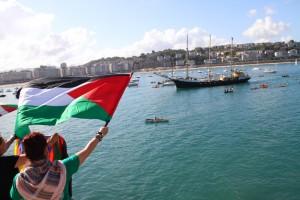 Recibimiento en Donostia del Estelle en agosto de 2012. Foto: Rumbo a Gaza