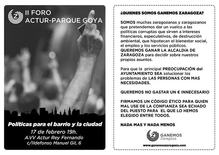 Ganemos Zaragoza celebra su segundo foro Actur-Parque Goya con el objetivo de sumar apoyos