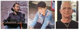 Pablo Echenique, Violeta Barba y Chema Herrera, candidatos y candidata en las primarias de Podemos Aragón.