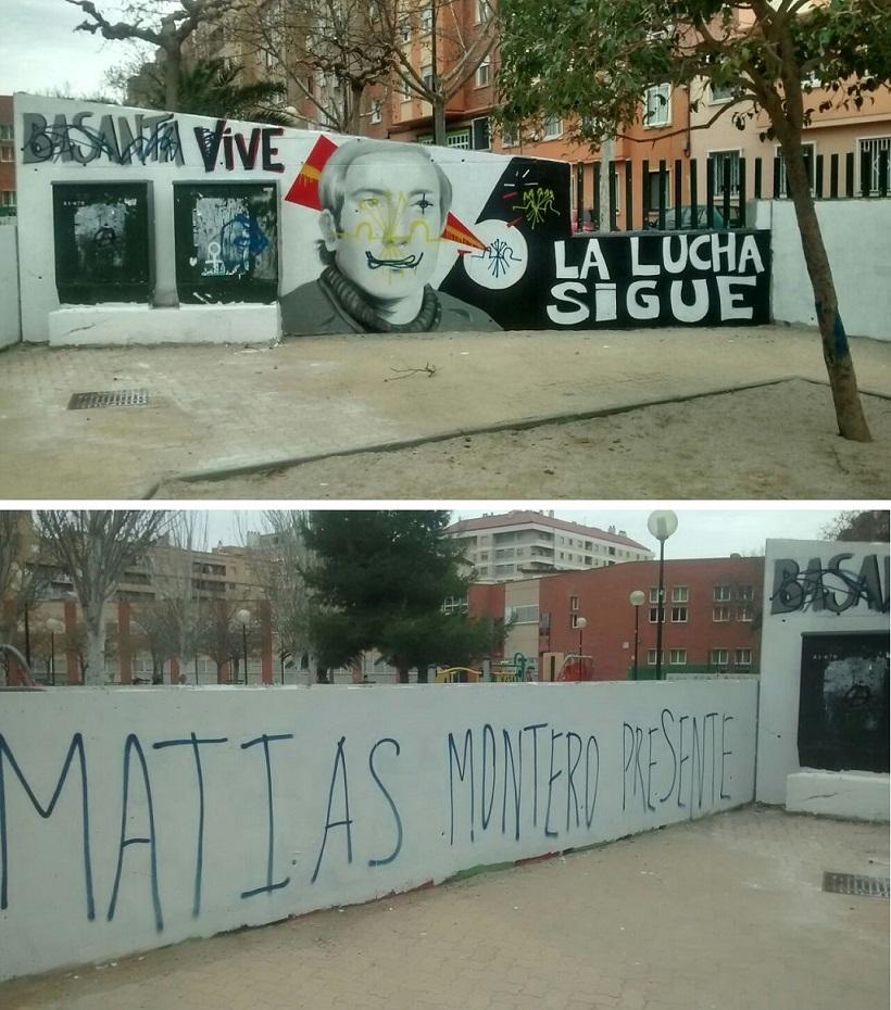 """Sabotaje fascista en Zaragoza contra el mural vecinal """"Basanta vive, la lucha sigue"""""""