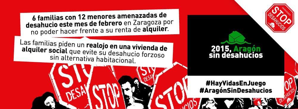 El juzgado paraliza en Zaragoza un desahucio previsto para este jueves