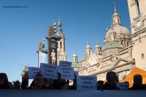 Concentración en Zaragoza. Foto: Diego Díaz (AraInfo)
