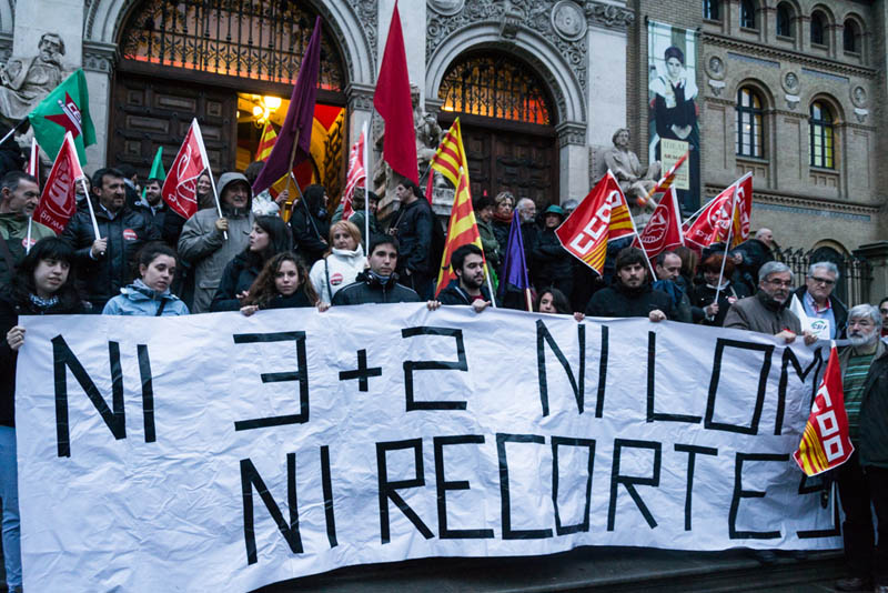 Protesta unitaria en Zaragoza contra el '3+2' y la LOMCE