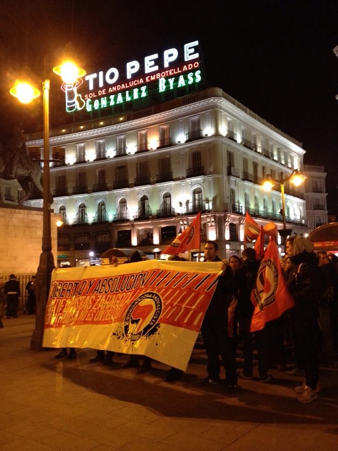 Manifestación en Madrid en solidaridad con antifascistas detenidos en Zaragoza.