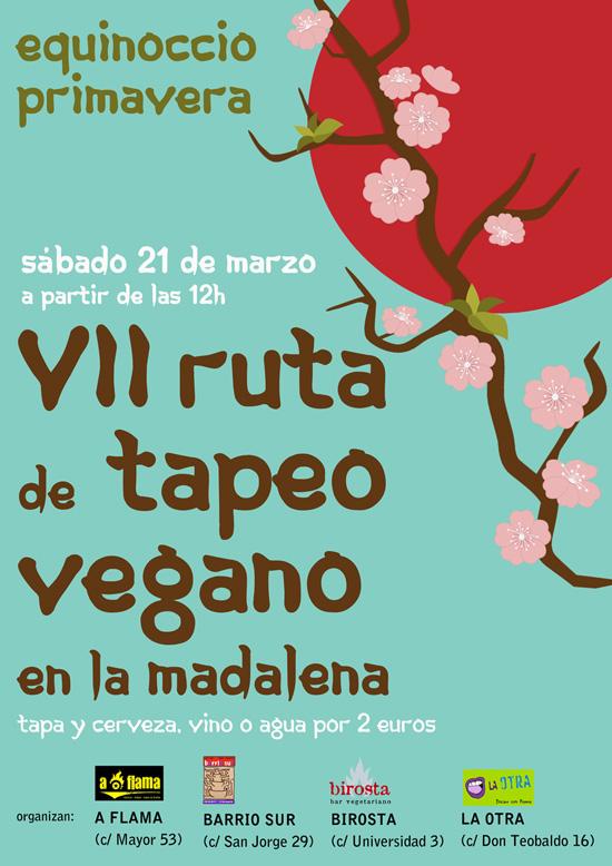 Este sábado Birosta, A Flama, Barrio Sur y La Otra celebran una nueva ruta de tapeo vegano en la Madalena