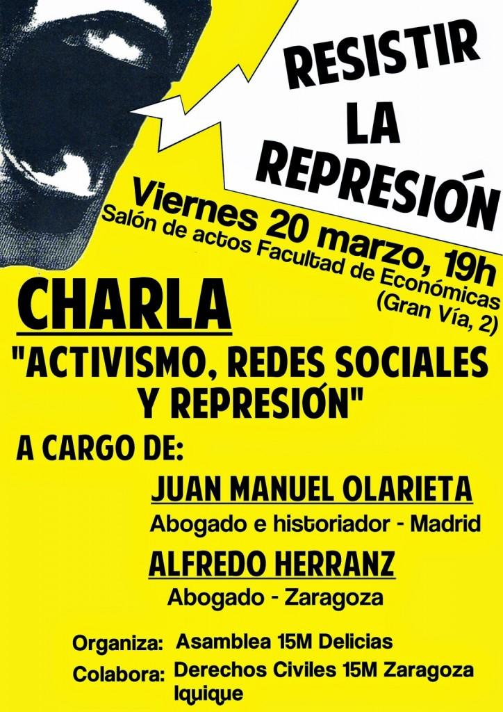 La asamblea 15M Delicias organiza la charla «Activismo, Represión y Redes Sociales»