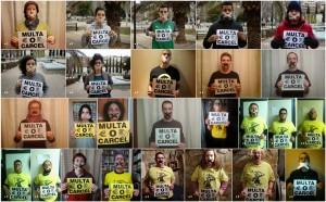 Imágenes de la campaña '¿Multa o cárcel?' de Derechos Civiles y CGT Jardinería en Zaragoza.