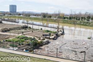 Imagen de la riada a su paso por Zaragoza. Foto: AraInfo.