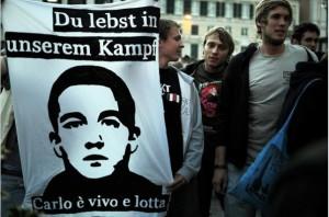 Conmemoración en 2011 de los hechos ocurridos durante la cumbre antiglobalización en Génova en 2001. Foto: Álvaro Minguito (Diagonal)