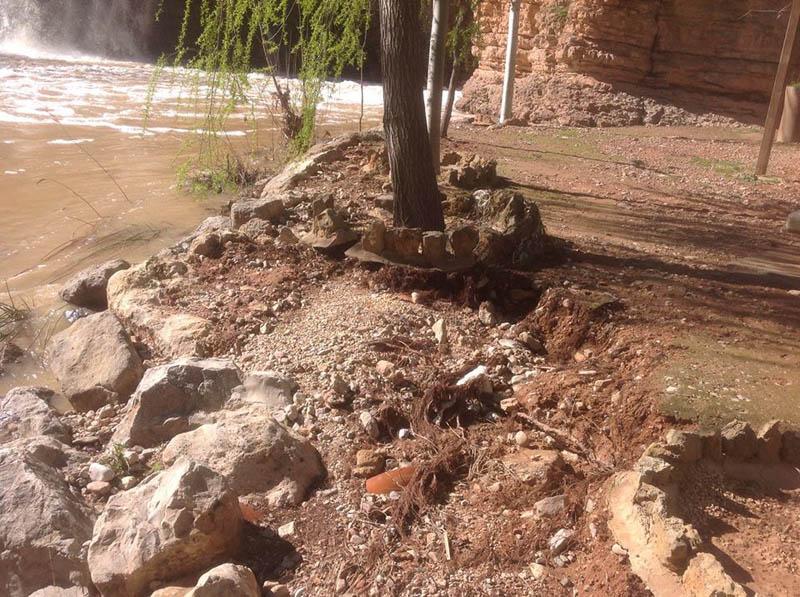 CHA reclama la urgente reparación de los daños causados por la crecida del río Huerva en Muel