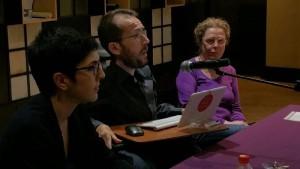 Echenique, Barba y Suárez durante el acto de Calatayud.