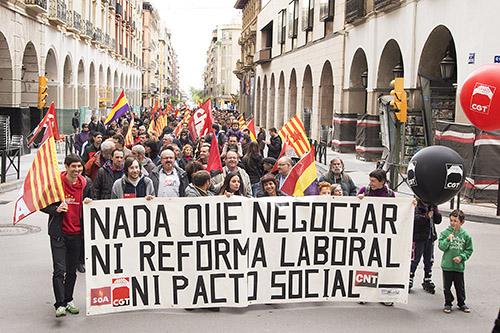 CGT, CNT, HUSTE y SOA unidos en el 1º de Mayo en Uesca