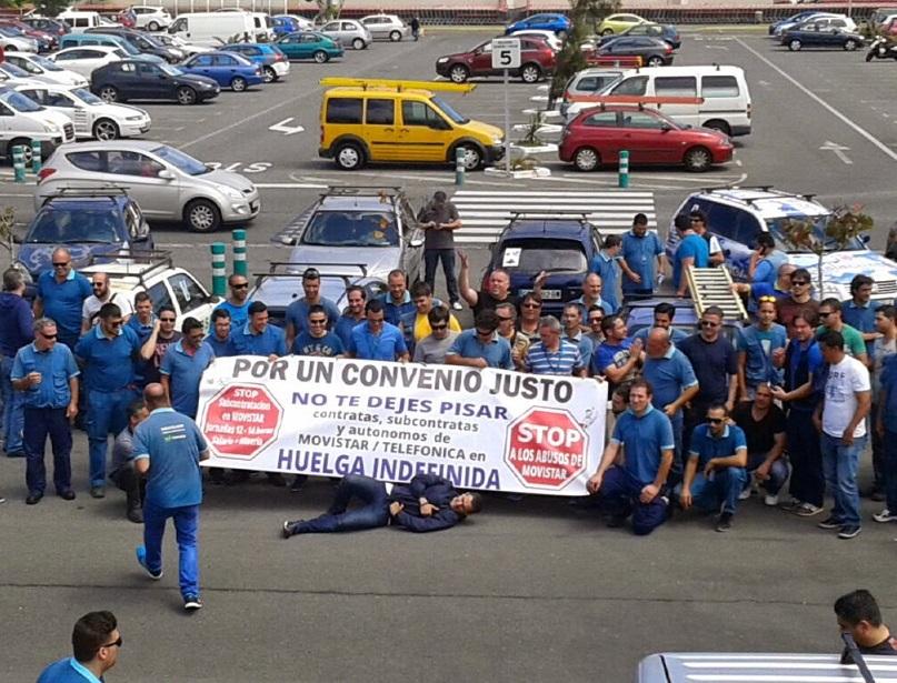 Huelga indefinida de las subcontratas de Telefónica-Movistar