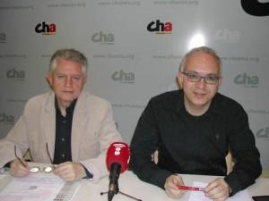 Nagore y Félez durante la rueda de prensa en Uesca.