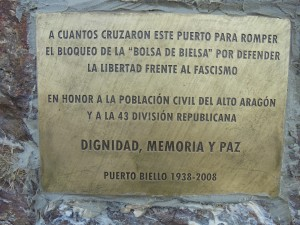 Placa conmemorativa de la Bolsa de Bielsa