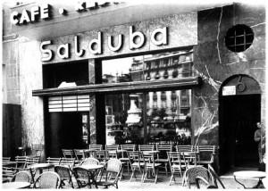 Terraza del café Salduba en los años 50.