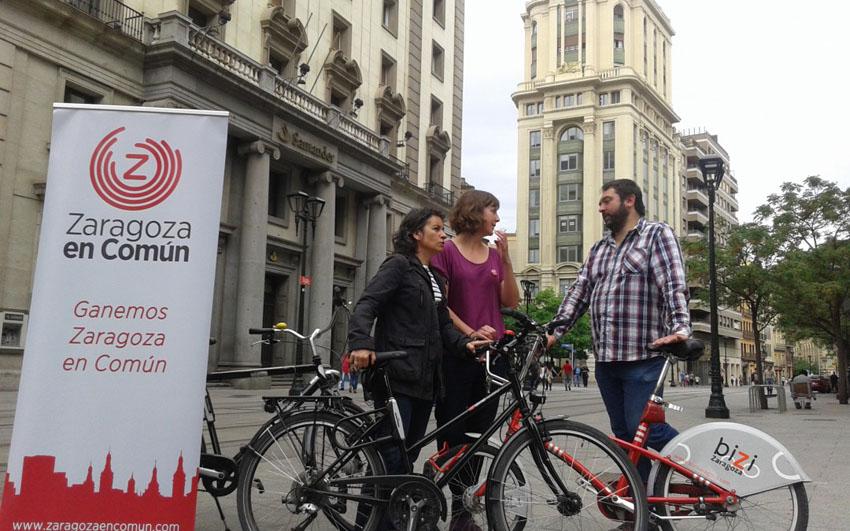 Zaragoza en Común define medidas para hacer de Zaragoza una ciudad de peatones y bicicletas