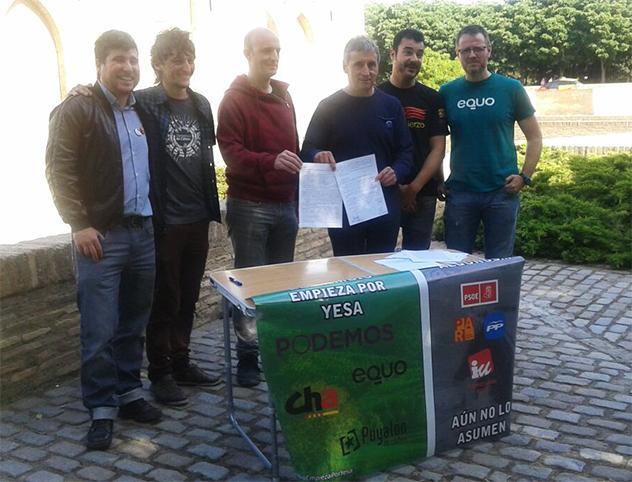 Puyalón, Podemos, CHA y Equo suscriben un manifiesto contra el recrecimiento de Yesa