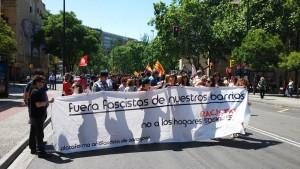 Cabecera de la manifestación. Foto: @arainfonoticias