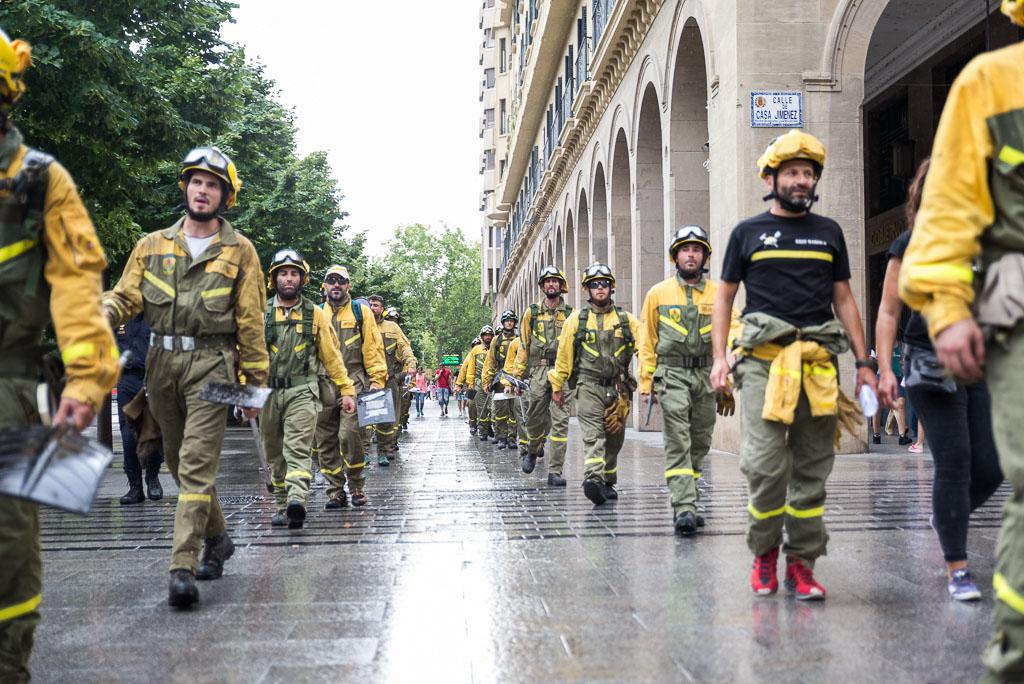 Protesta de la BRIF Daroca en Zaragoza. Foto: Pablo Ibáñez (AraInfo)