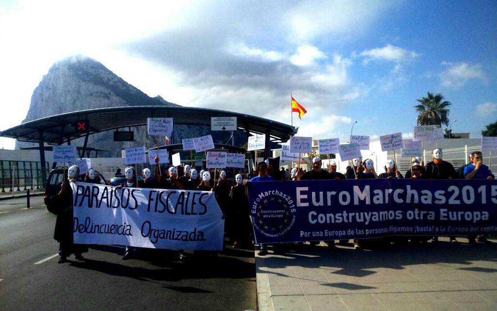 Las Euromarchas 2015 comienzan su primera etapa en Gibraltar denunciando los paraísos fiscales de la UE