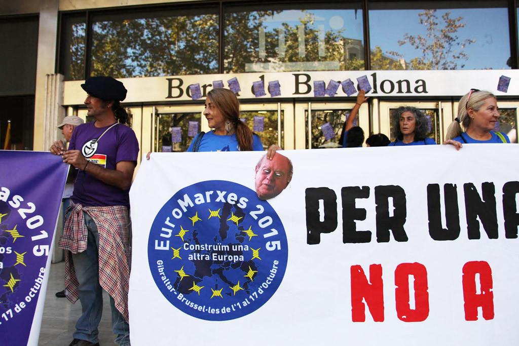 La denuncia contra las élites del sistema fiscal y las políticas de privatización centran la actividad de las Euromarchas en Barcelona