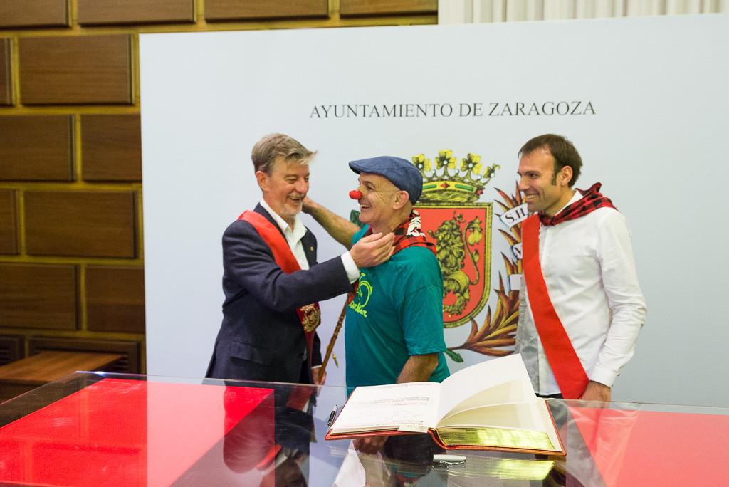 Ramón Lambán de Pedalea junto a Pedro Santisteve y Pablo Muñoz. Foto: Pablo Ibáñez (AraInfo)