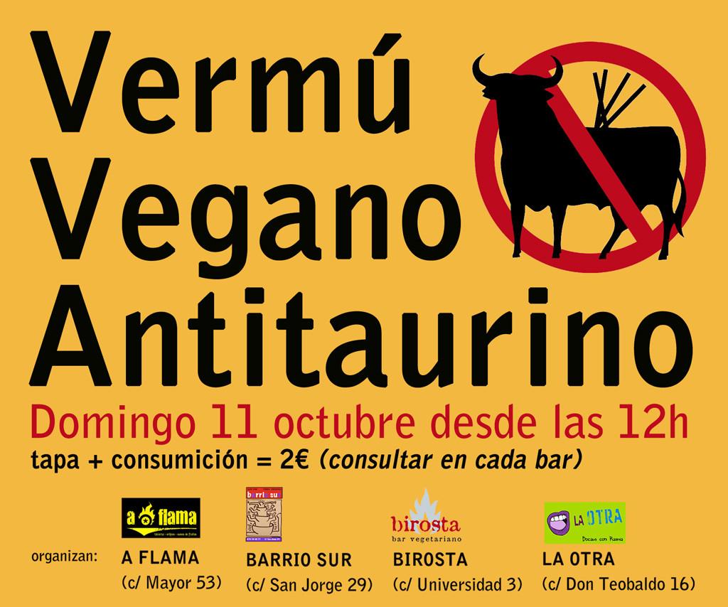 Vermú vegano antitaurino en A Flama, Birosta, Barrio Sur y La Otra