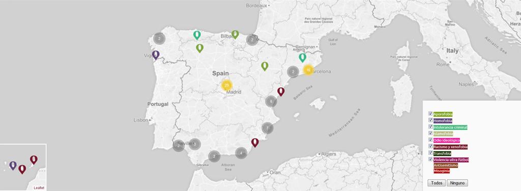 Mapa de los crímenes de odio documentados. Fuente: crimenesdeodio.info