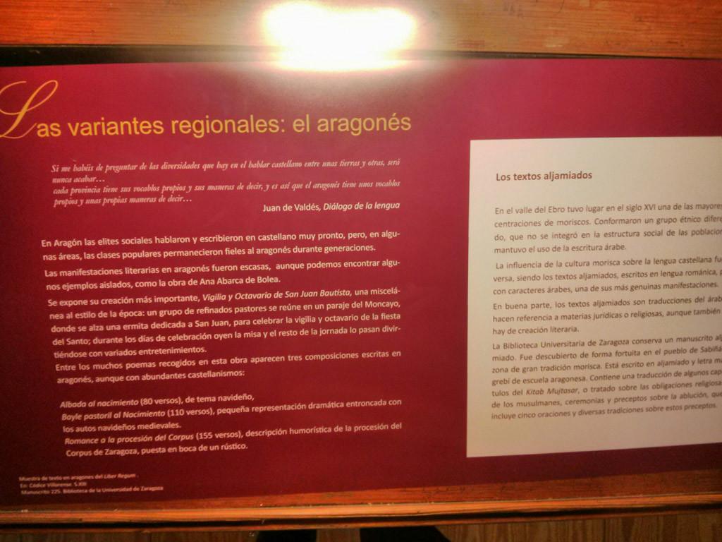 """A UZ clama en exposición a la luenga aragonesa """"Variante regional"""" d'o castellano"""