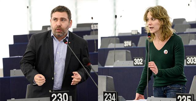 Albiol y Couso denuncian en el Parlamento Europeo la detención de los dos titiriteros