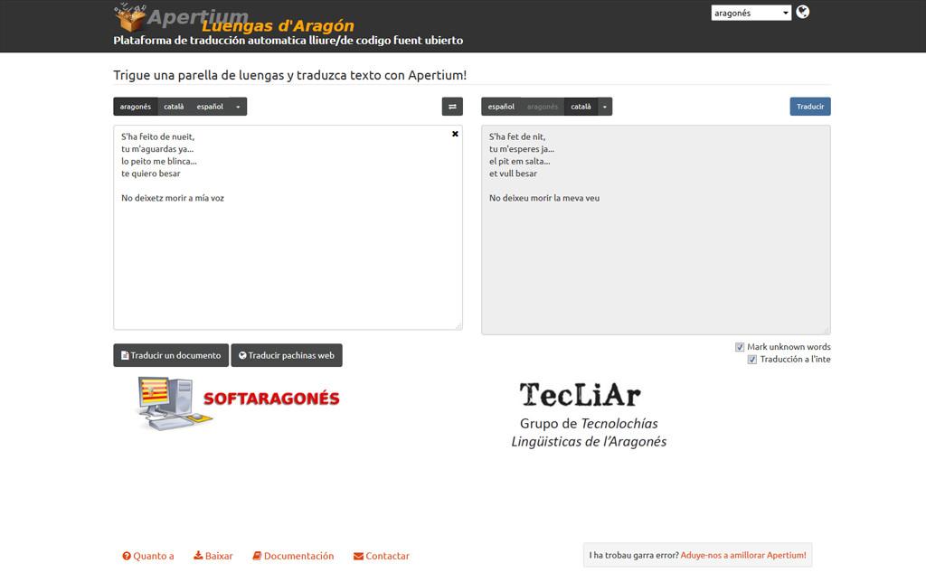 Ya ye online la primer web de traducción automatica entre las luengas d'Aragón