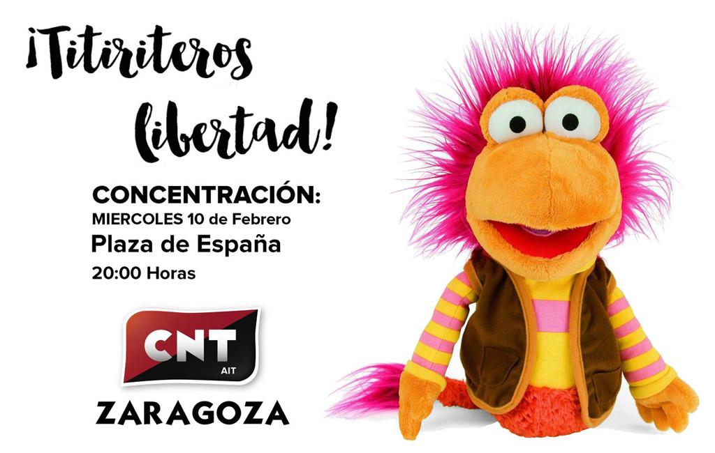 CNT convoca una concentración en Zaragoza para pedir la libertad de los titiriteros