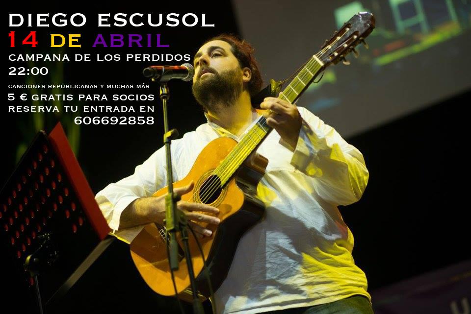 Diego Escusol celebrará el 14 de abril con un concierto en Zaragoza