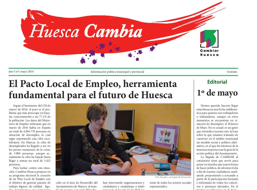 El Grupo Cambiar repartirá un boletín titulado Huesca Cambia