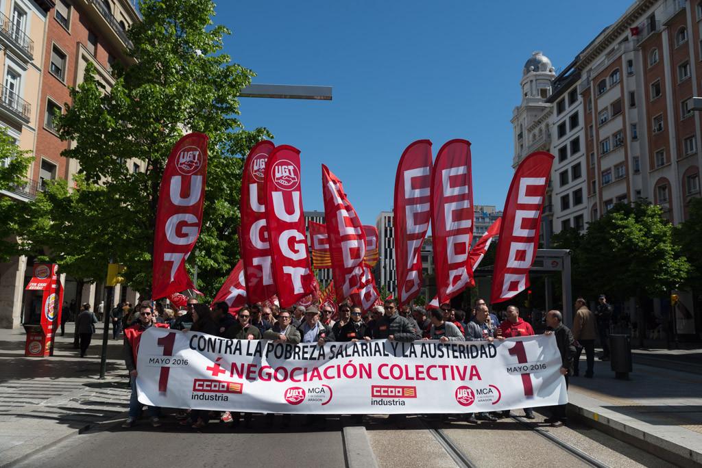 CCOO y UGT convocan en solitario movilizaciones en Zaragoza, Uesca y Teruel