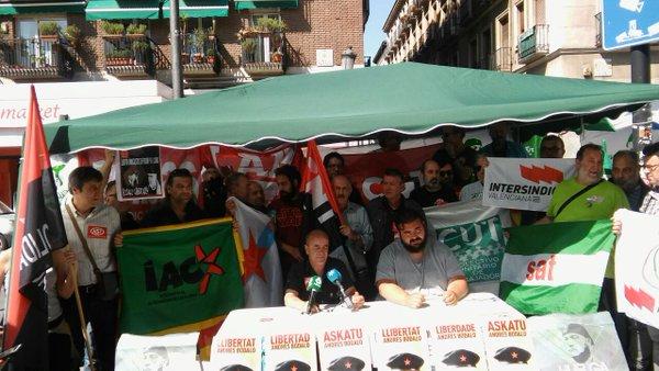 CUT e IA, junto a sindicatos de clase y alternativos, apoyan en Madrid al SAT y a Andrés Bódalo