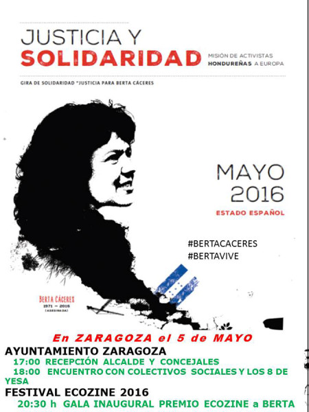 Berta Cáceres gira europea solidaridad ZGZ